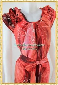 เสื้อผ้าคนอ้วนชุดทำงานสีชมพูโอโร้ดล์คอกลมแต่งระบายบนไหล่