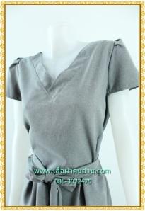 เสื้อผ้าคนอ้วนชุดทำงานคอวีแขนฟิลิปปินส์สีเทาควันบุหรี่เรียบง่าย