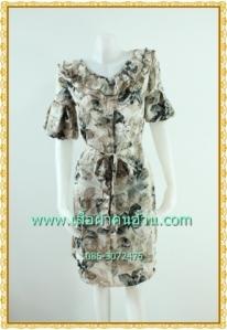 F1747 เสื้อผ้าคนอ้วนแบบชุดเดรสทำงานผ้าไหมอินโดพิมพ์ลายดอกแรเงาเทาดำโดดเด่น